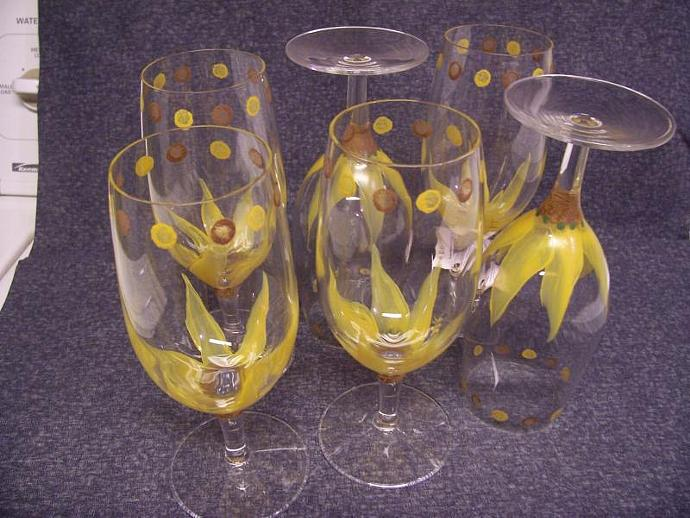 Funky Flowered Stemmed Glasses