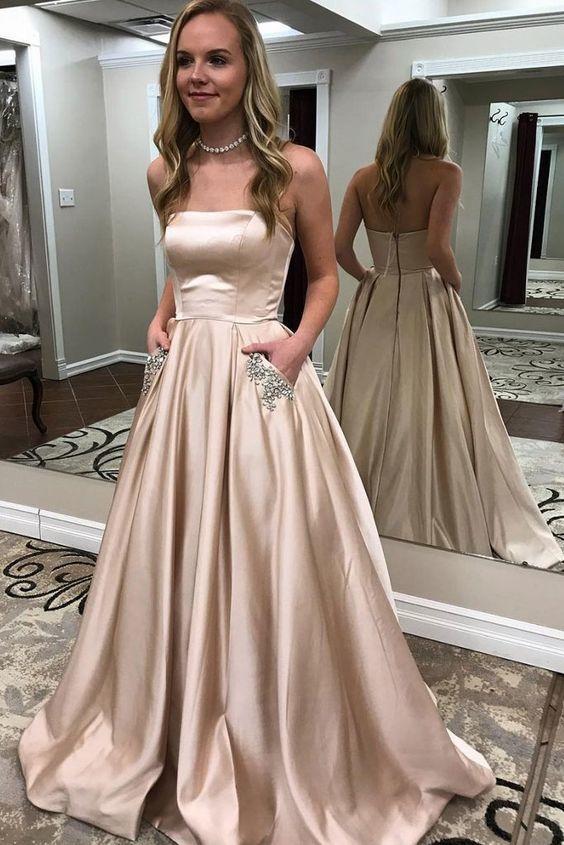Champagne satin long prom dress M11590