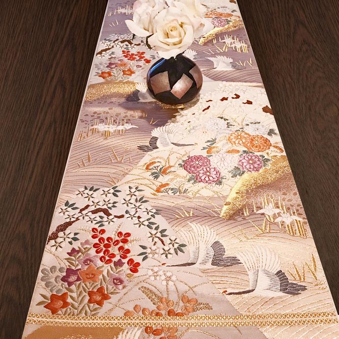 "VINTAGE Beautiful Japanese ""Obi"" Kimono Belt 100% Silk, Gold String, Cranes &"