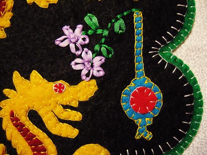 """Dragon"" Lantern Candle Mat Penny Rug With Flowers PATTERN"