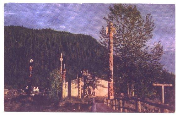 Vintage Postcard Shakes Island Wrangell Alaska Totem Pole