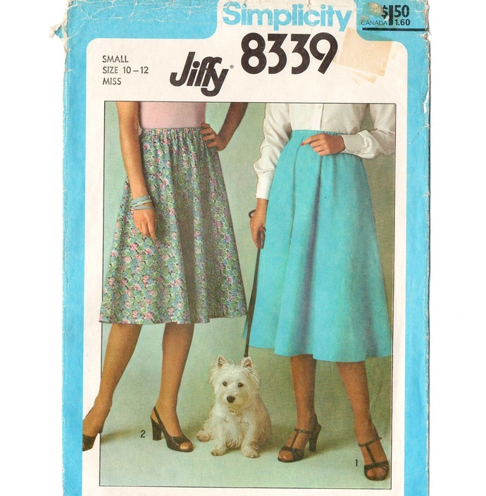 Simplicity 8339 Misses Jiffy Skirt 70s Vintage Sewing Pattern Size Small 10 - 12