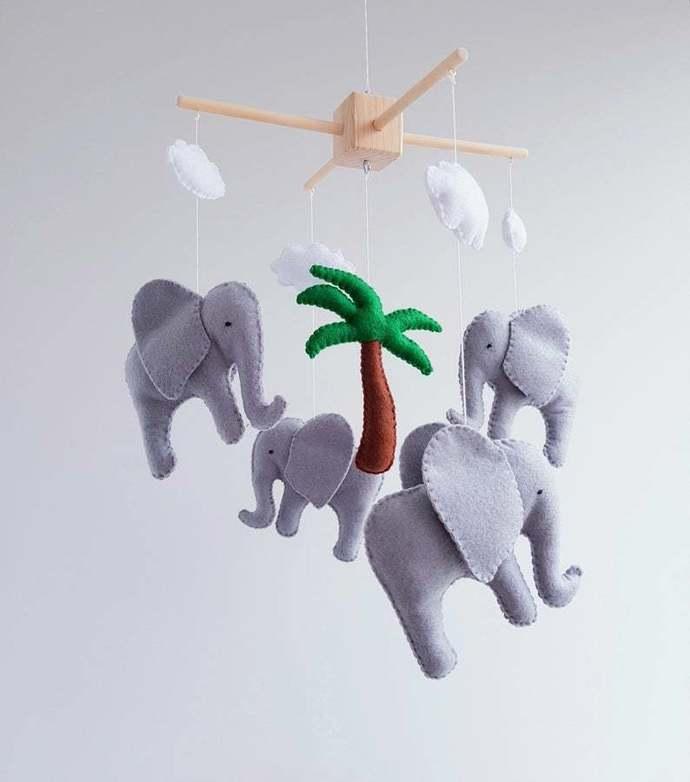 Elephant baby crib mobile, Nursery felt mobile, Animals mobile, Safari decor