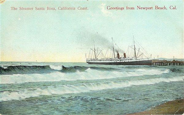 Newport Beach California Steamer Ship Santa Rosa 1910s Postcard