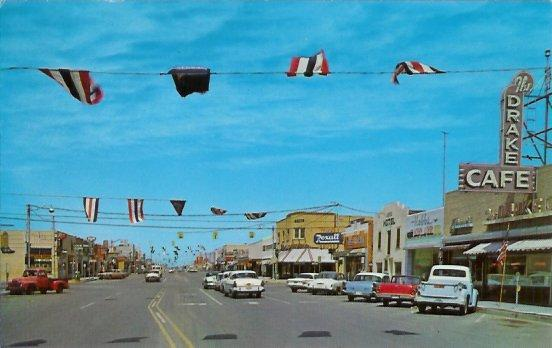 Hobbs New Mexico Broadway Looking West 1950s Town View Postcard