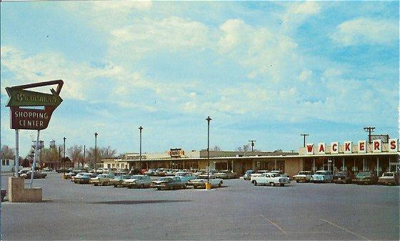 Hobbs New Mexico 1950s Town View Postcard Broadmoor Shopping Center