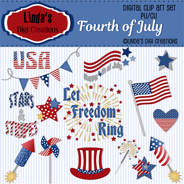 Fourth Of July ClipArt Set