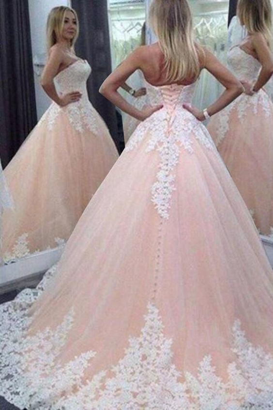 Stunning Sweetheart Floor-Length Appliques Lace up Strapless Ball Gown  M11601