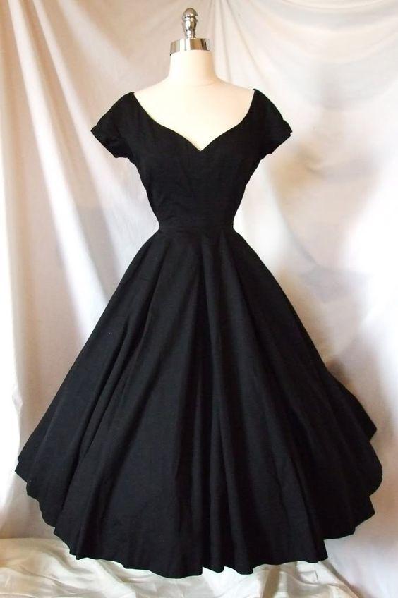 Vintage A-Line Black Satin Cocktail Party Dresses  M11603