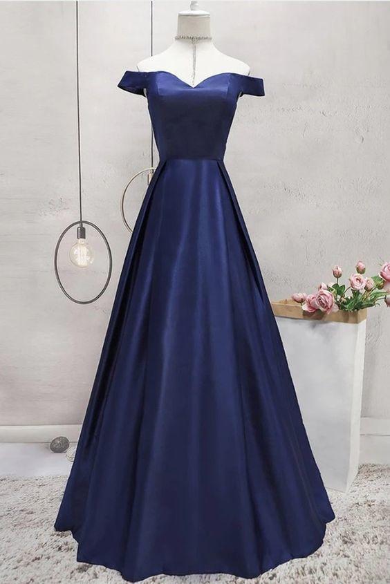 Off Shoulder Blue Satin Long Prom Dress M11606