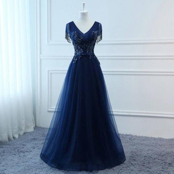Prom Dresses Long Navy Blue Evening Dresses Foral Tulle Dress M11607