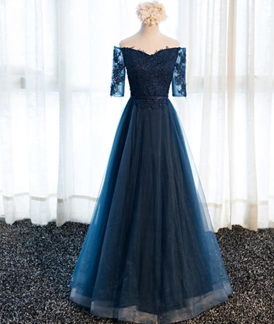 Navy Blue Half Sleeves Lace Long Prom Dresses M11608
