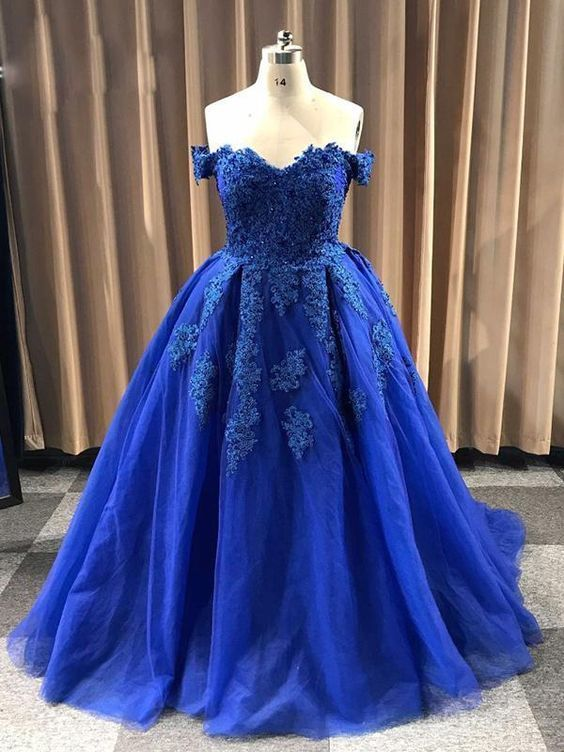 Ball Gown Sweetheart Cap Sleeve Lace Appliques Prom Dress M11609