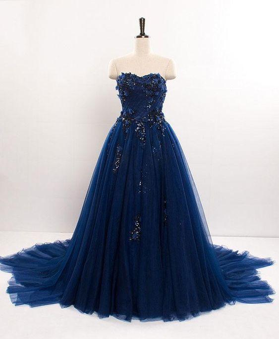 Dark blue sweetheart tulle lace long prom dress M11610