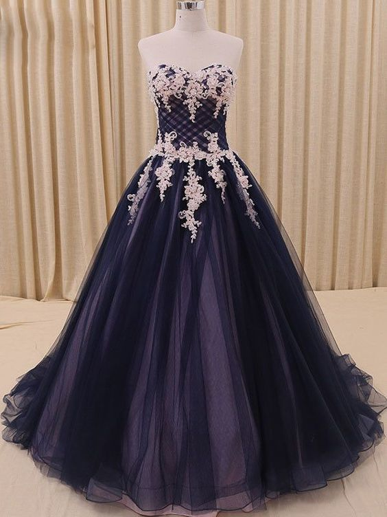Navy Tulle Ball Gown Formal Prom Dress M11611