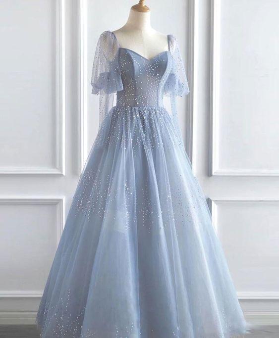 Blue v neck tulle sequin long prom dress M11614