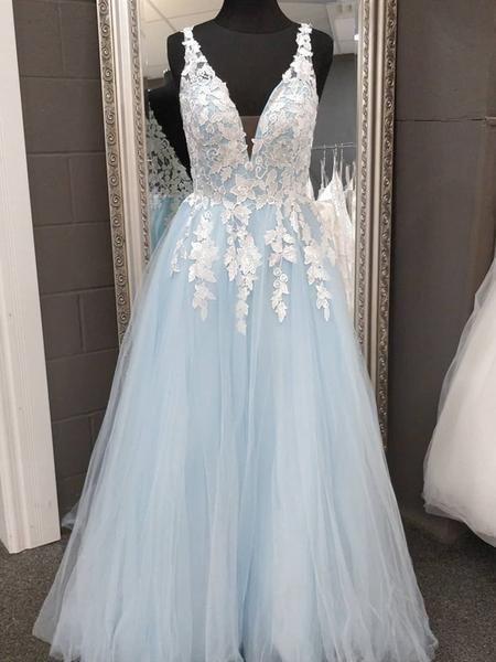A Line V Neck Blue Lace Prom Dresses M11615
