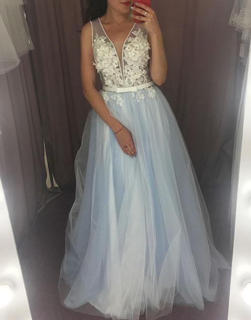 Light blue tulle lace long prom dress M11616