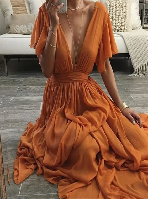 Chiffon V Neck A Line Prom Dress M11625