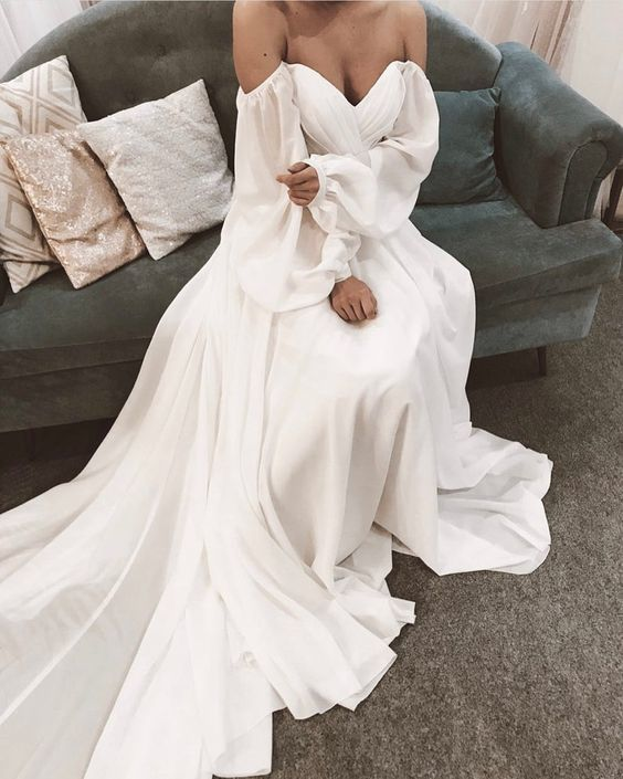 Off Shoulder Prom Dress | Chiffon With Long Sleeves M11626