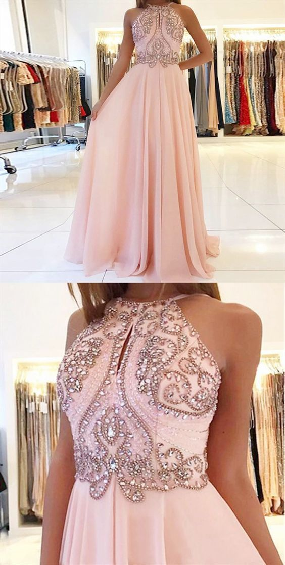 A-Line Jewel Backless Pink Beaded Long Chiffon Prom Dress M11627
