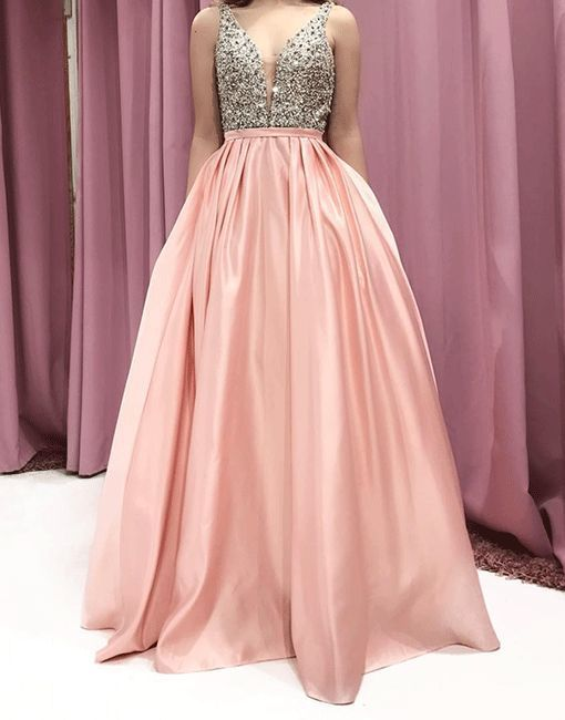 Pink v neck satin long prom dress M11628