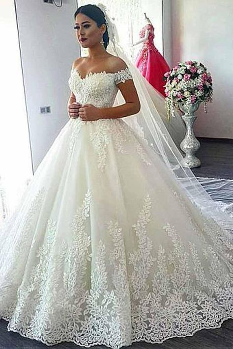 Off-the-shoulder Neckline Ball Gown With Lace Appliques M11629