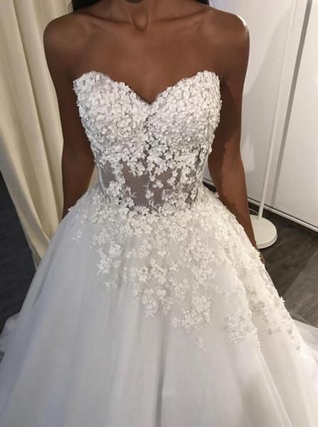 A-Line Sweetheart Sweep Train Tulle Appliques Wedding Dress M11630