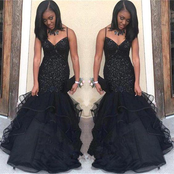 Black Sweetheart Long Tulle Mermaid Spaghetti Straps Mermaid African Prom