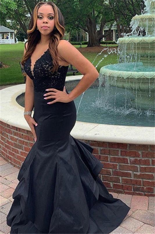 Charming Mermaid Prom Dresses Black Satin V Neck Layered Lace M11634