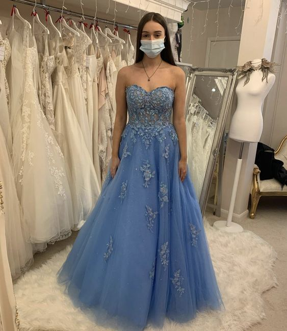 Blue tulle lace long A line prom dress evening dress M11635