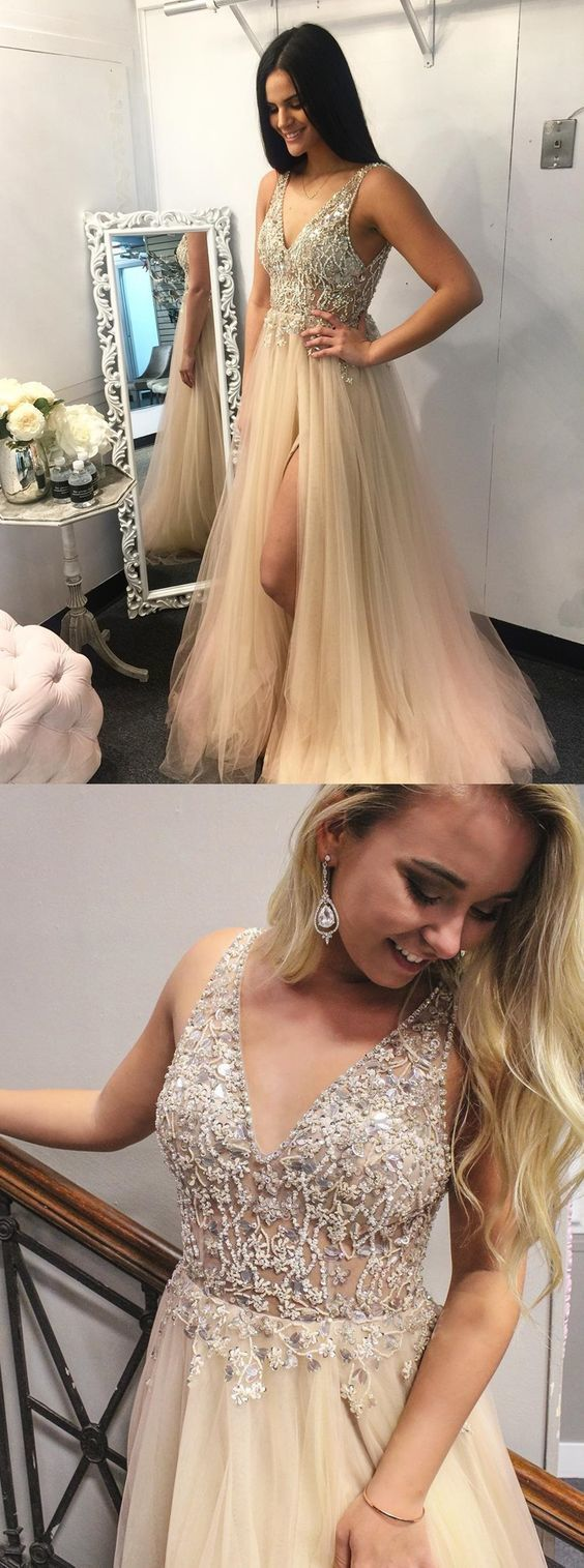 A-Line V-Neck Floor-Length Light Champagne Prom Dress with Beading Split M11639