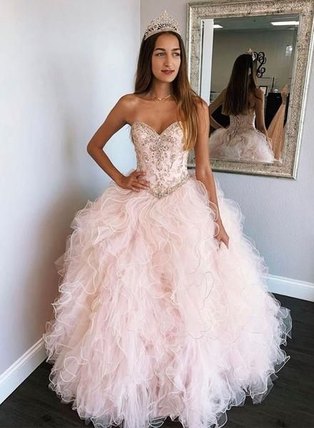Pink Tulle Beads Long Prom Gown, Sweet 16 Dress,puffy Quinceanera Dresses M11647