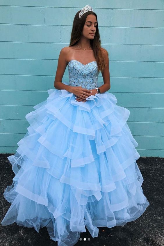 Blue sweetheart neck tulle beads long prom dress M11648