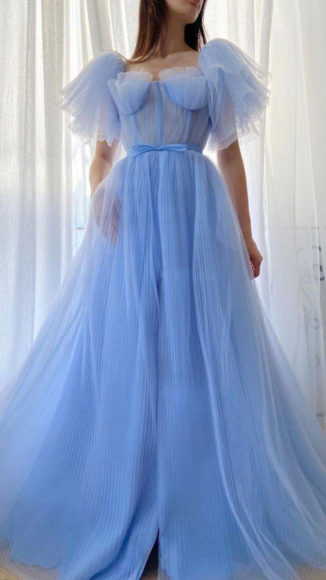 Blue tulle long prom dress M11649