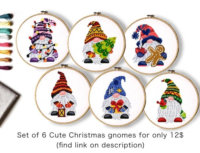 Set of 6 Christmas gnomes Modern Cross Stitch Pattern, Instant download PDF