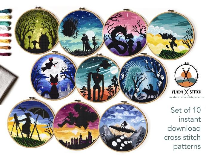 Set of 10 landscape Modern Cross Stitch Pattern,  Instant download PDF