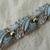 vintage crown Trifari signed light blue enamel clear crystals silver floral