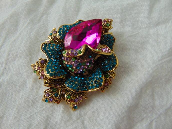 hot pink bermuda blue crystals rose bud brooch lime green pale pink crystals