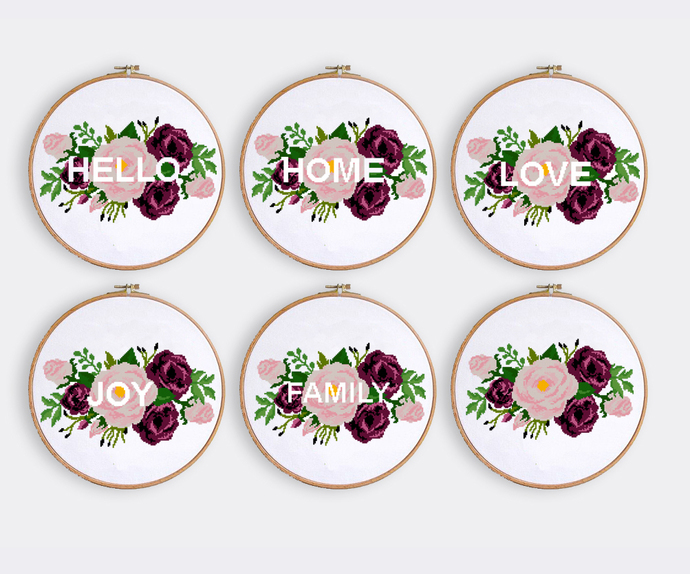 Set of 5 Quotes cross stitch pattern Floral cross stitch chat Easy cross stitch