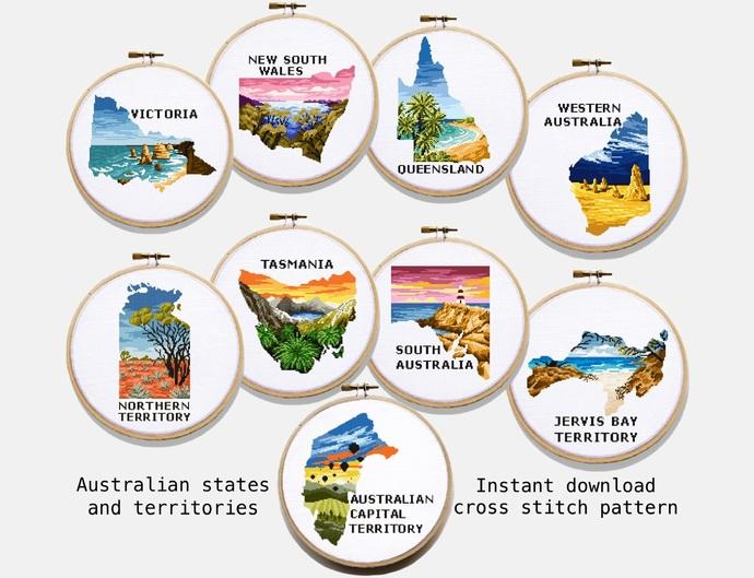 Set of 9 states and territories Australia Modern Cross Stitch Pattern,