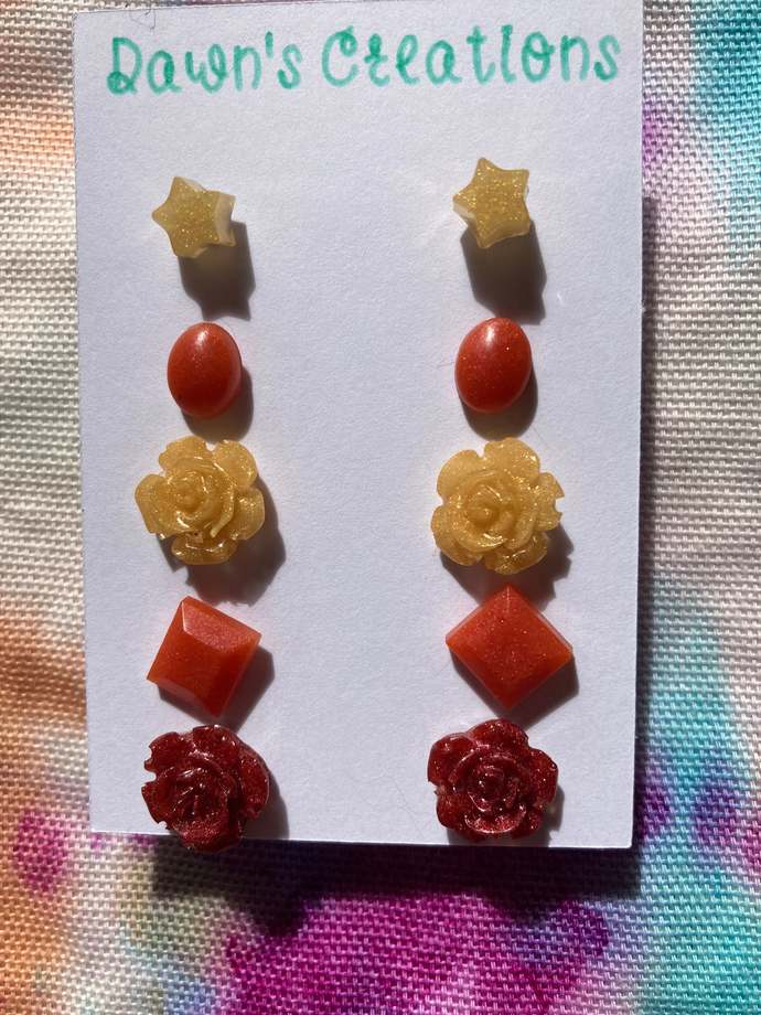 5 pairs resin small stud earrings gold orange bronze pearlescent oval flower