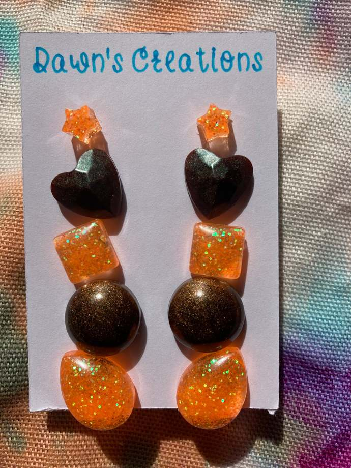 5 pairs resin small stud earrings orange brown bronze pearlescent rainbow