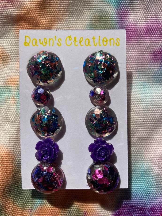 5 pairs resin small stud earrings purple green pink blue copper glitter flower
