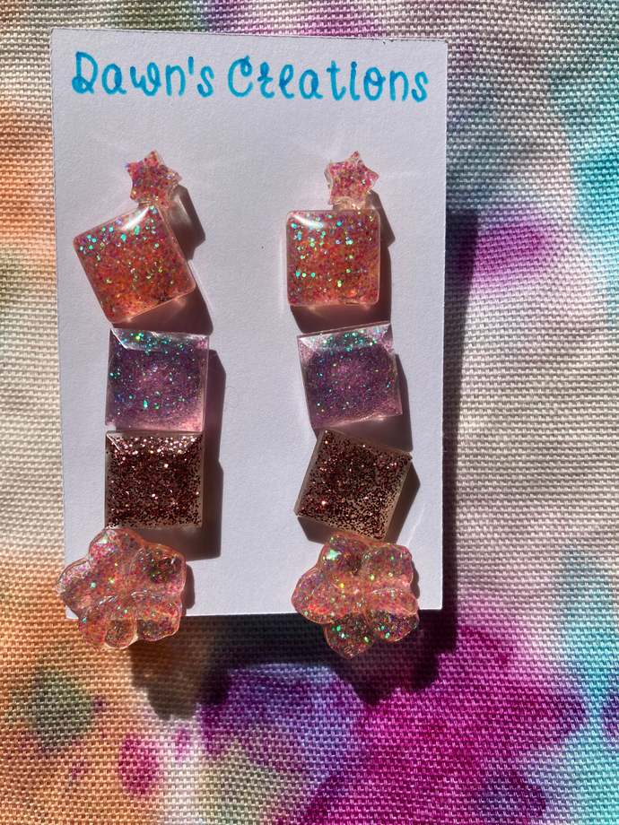 5 pairs resin small stud earrings pink rainbow glitter flower star square