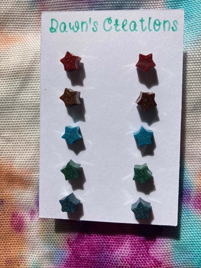 5 pairs resin small stud earrings copper bronze teal green pearlescent star