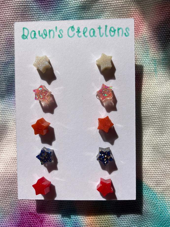 5 pairs resin small stud earrings pink gold glitter white red dark pink