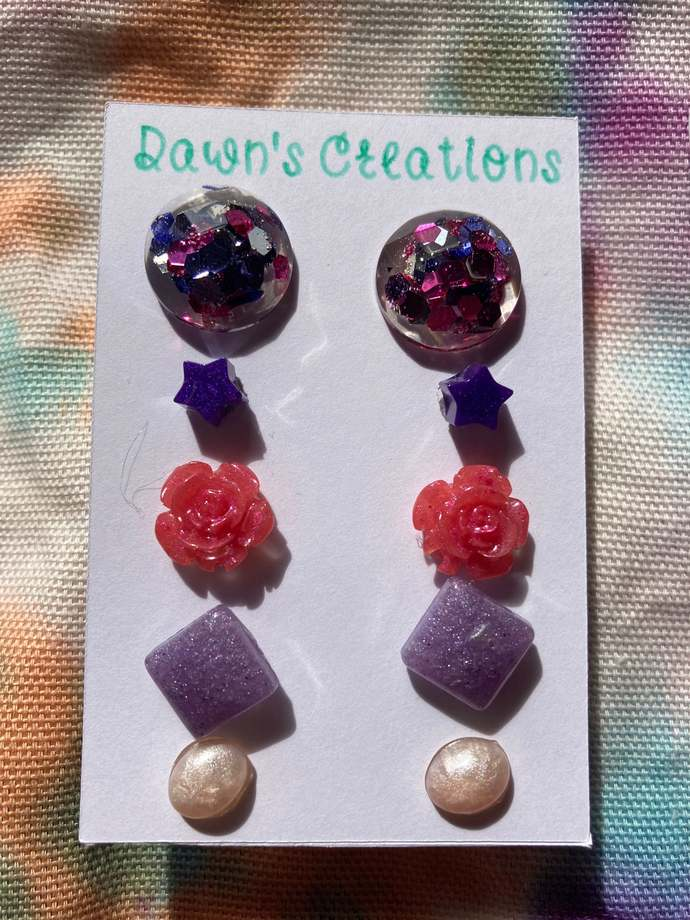 5 pairs resin small stud earrings pink white purple pearlescent pink purple