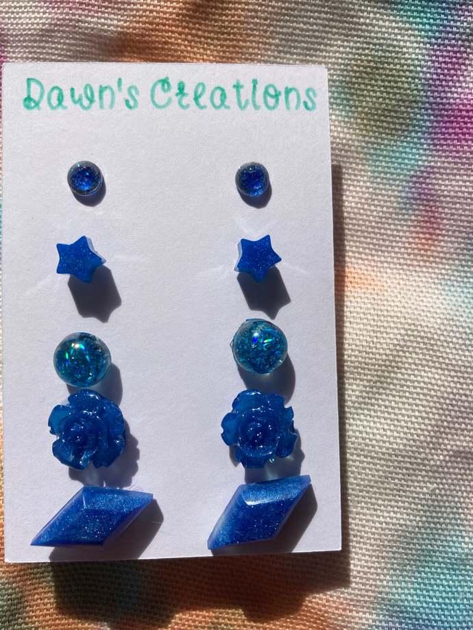 5 pairs resin small stud earrings blue glitter circle star flower diamond