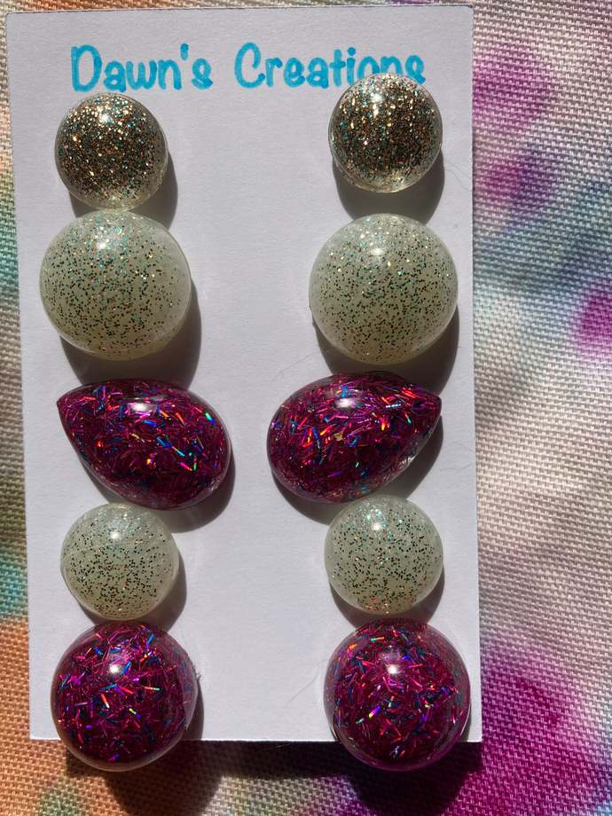5 pairs resin stud earrings gold teal pink glitter circle teardrop